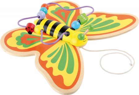 Fluturasul Colorat - Jucarie de tras cu labirint din lemn0