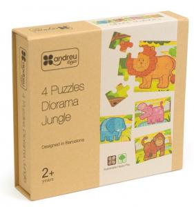 Jungla - 4 puzzle-uri tip diorama, lemn [0]