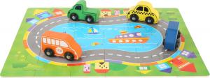 Puzzle Cutia cu traseu si vehicule - din lemn1