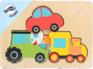 Puzzle in 3 straturi cu vehicule, din lemn1