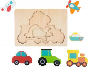 Puzzle in 3 straturi cu vehicule, din lemn3