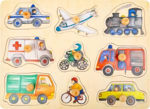 Puzzle 9 Vehicule cu butoane, din lemn0