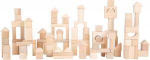 Set 100 cuburi din lemn natur, la saculet1