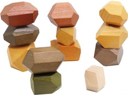 Set XL 12 pietre mari din lemn, joc de stivuit si de echilibru [0]