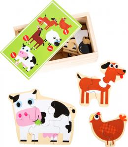 Set 5 puzzle-uri la cutie Prietenii de la ferma0