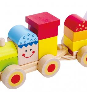 Trenulet din lemn cu fete zambitoare, 26 piese4