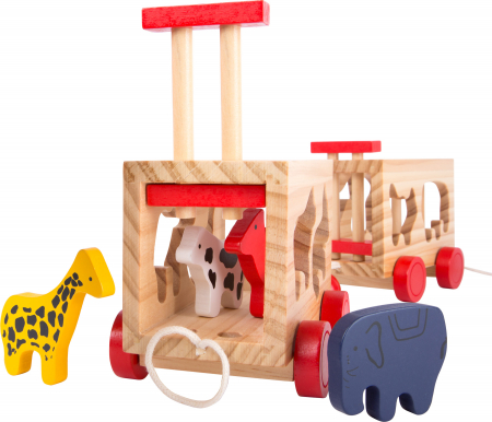 Zootrenul, jucarie potrivire forme animale din lemn1