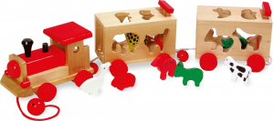Zootrenul, jucarie potrivire forme animale din lemn0