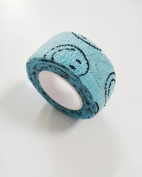 Bandaj elastic autoadeziv albastru cu imprimeu - 2,5 cm [0]