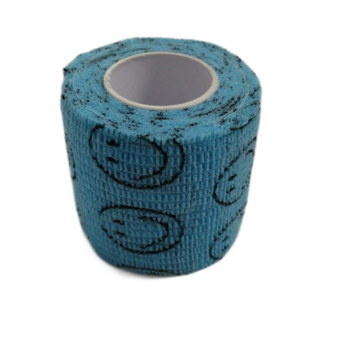 Bandaj elastic autoadeziv albastru cu imprimeu - 5 cm [0]