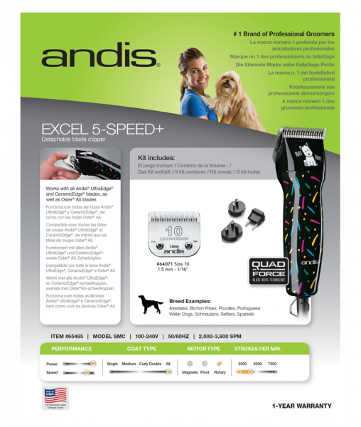 Masina de tuns profesionala, Andis Excel 5-Speed+, 65485 4