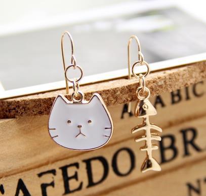 Asymmetric Earrings - Cat and Fish [0]