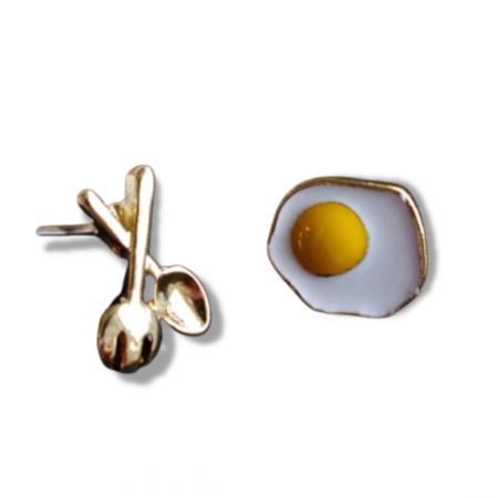 Fried Egg Asymmetric Earrings [0]