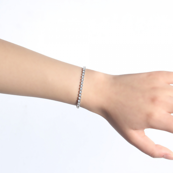 Bratara Tennis Alpine Silver din otel inoxidabil si diamante CZ DRGB0035 DarGen [2]