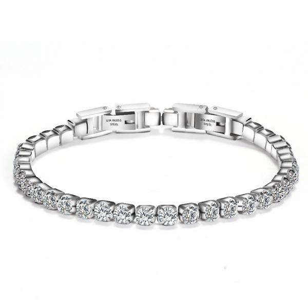 Bratara Tennis Alpine Silver din otel inoxidabil si diamante CZ DRGB0035 DarGen 0