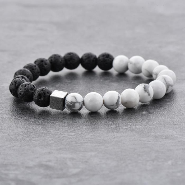 Bratara Black and White din pietre semipretioase DRGB0068 DarGen 6