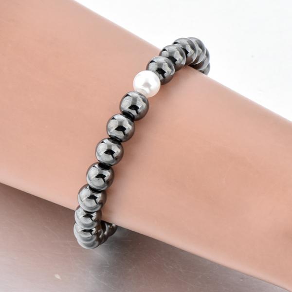 Bratara Hematite Beads Pearl din pietre semipretioase DRGB0069 DarGen [5]