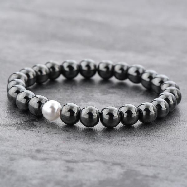 Bratara Hematite Beads Pearl din pietre semipretioase DRGB0069 DarGen [6]