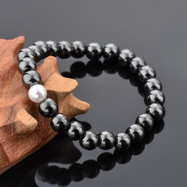Bratara Hematite Beads Pearl din pietre semipretioase DRGB0069 DarGen [7]