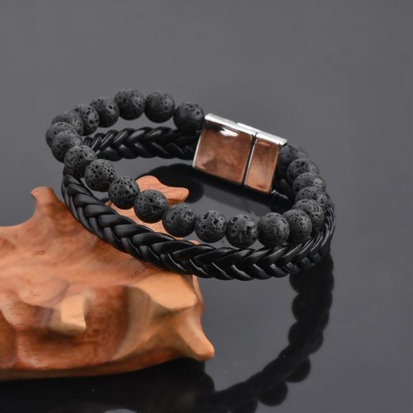 Bratara All Black din pietre vulcanice si piele ecologica DRGB0100 DarGen [9]
