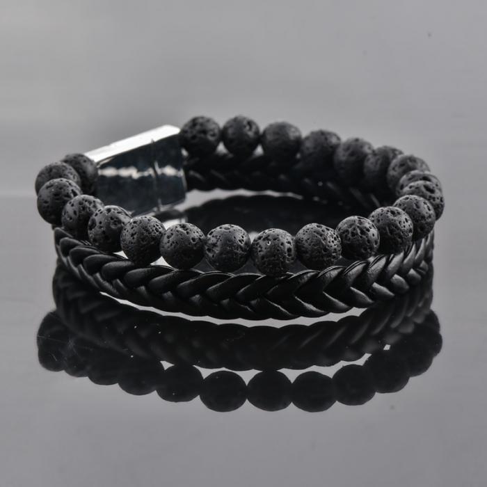 Set Bratara All Black+Colier Obsidian cu pietre semipretioase DRGSB033 - DarGEN 3