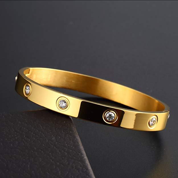 Bratara Adonia Gold din otel inoxidabil si diamante CZ DRGB0149 DarGen 1