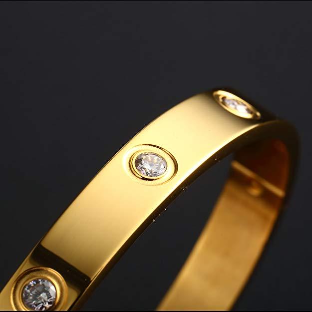 Bratara Adonia Gold din otel inoxidabil si diamante CZ DRGB0149 DarGen 2