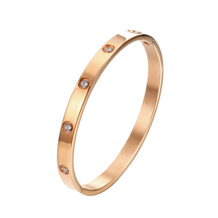 Bratara Adonia Rose Gold din otel inoxidabil si diamante CZ DRGB0150 DarGen 0
