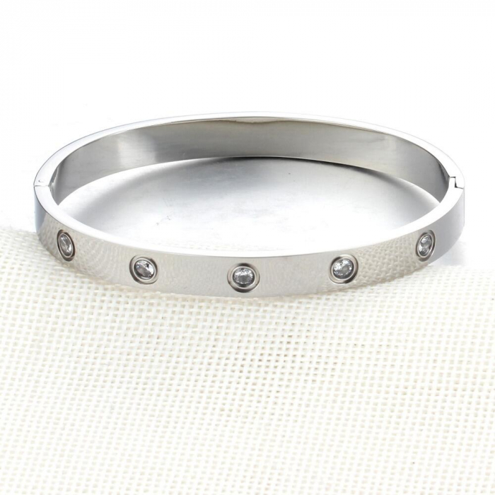 Bratara Adonia Silver din otel inoxidabil si diamante CZ DRGB0148 DarGen 2