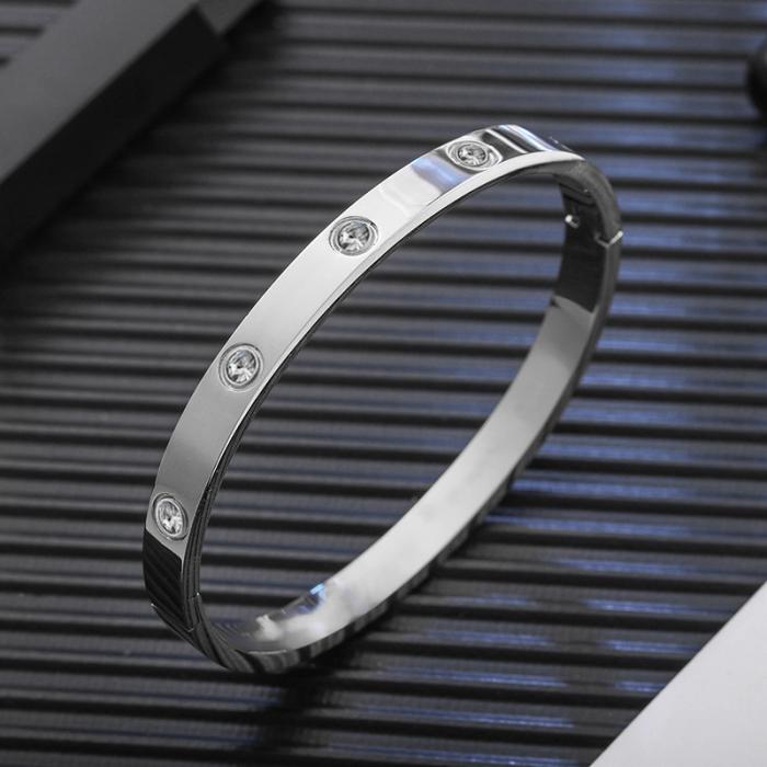 Bratara Adonia Silver din otel inoxidabil si diamante CZ DRGB0148 DarGen 1