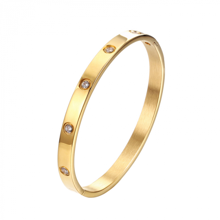 Bratara Adonia Gold din otel inoxidabil si diamante CZ DRGB0149 DarGen 0