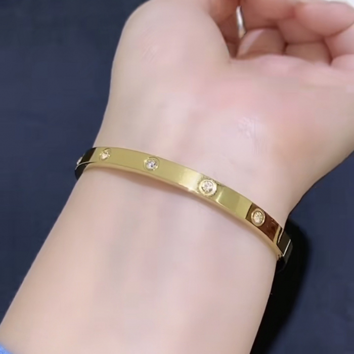 Bratara Adonia Gold din otel inoxidabil si diamante CZ DRGB0149 DarGen 3