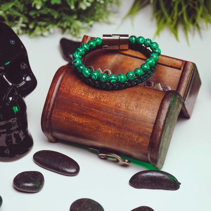 Bratara All Green din pietre malachit si snur impletit DRGB0101 DarGen [4]