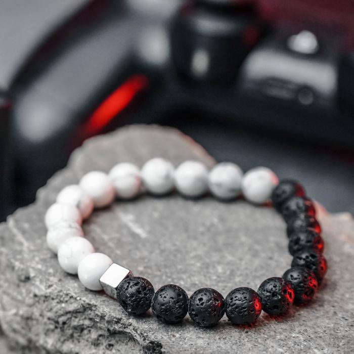 Bratara Black and White din pietre semipretioase DRGB0068 DarGen 5