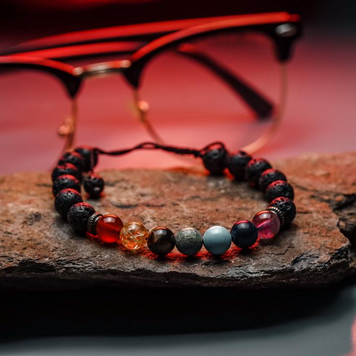 Bratara unisex pietre vulcanice si semipretioase, DarGen, Chakra ajustabila, Multicolor, 19 cm 2
