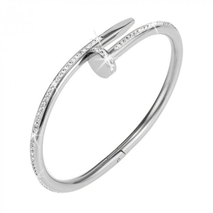 Bratara Efis Silver din otel inoxidabil si diamante CZ DRGB0181 DarGen [0]