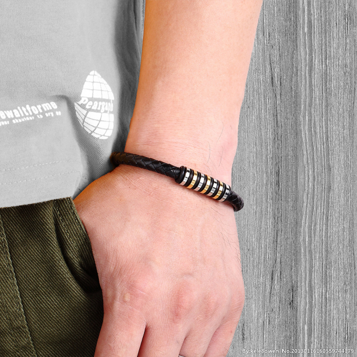 Bratara Marco din piele ecologica si otel inoxidabil DRGB0170 DarGen [2]