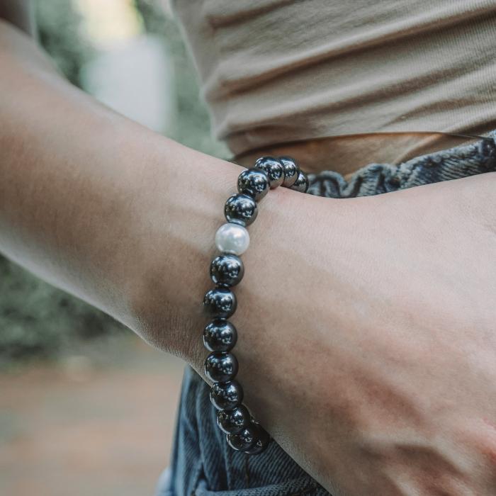 Bratara Hematite Beads Pearl din pietre semipretioase DRGB0069 DarGen [1]