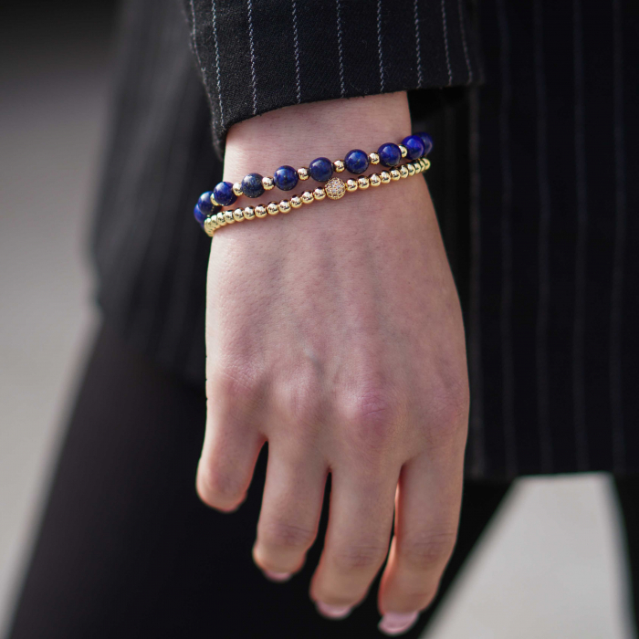Bratara Ithaca Blue din pietre semipretioase si margele din inox placate cu aur DRGB0127 DarGen [2]