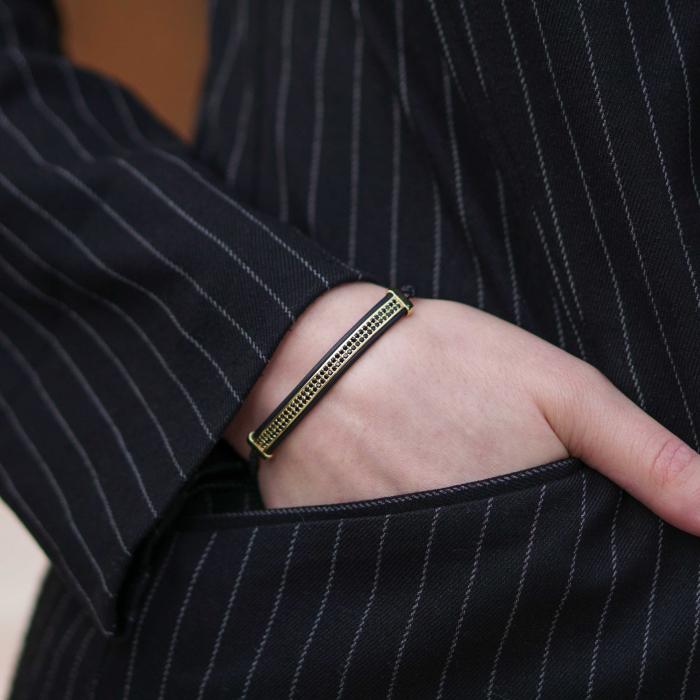 Bratara Ivon din snur si accesoriu din otel inoxidabil placat cu aur DRGB0099 DarGen [2]