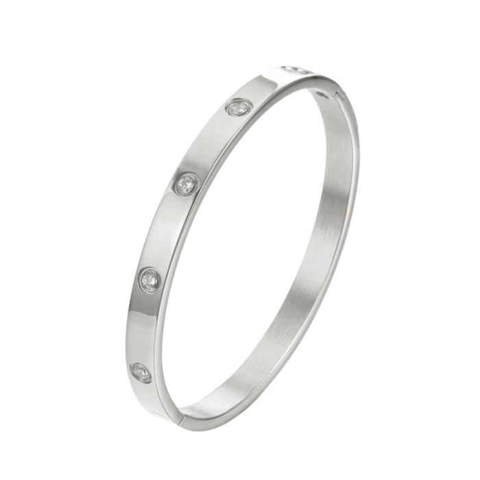 Bratara Adonia Silver din otel inoxidabil si diamante CZ DRGB0148 DarGen 0
