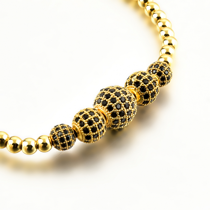 Bratara Melena Gold din pietre semipretioase si margele din otel inoxidabil placate cu aur DRGB0141 DarGen 8
