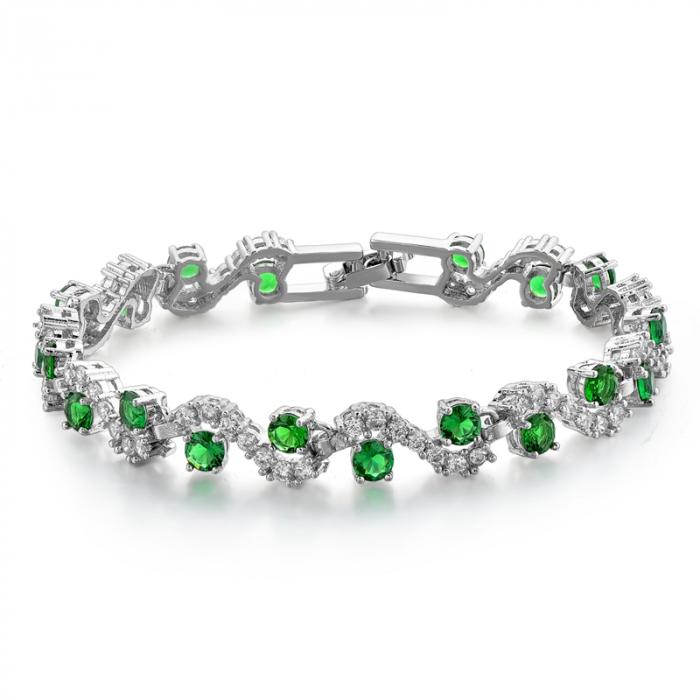 Bratara Melia Green din otel inoxidabil si diamante CZ DRGB0087 DarGen 0