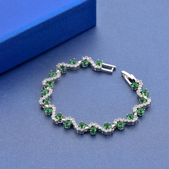 Bratara Melia Green din otel inoxidabil si diamante CZ DRGB0087 DarGen 4