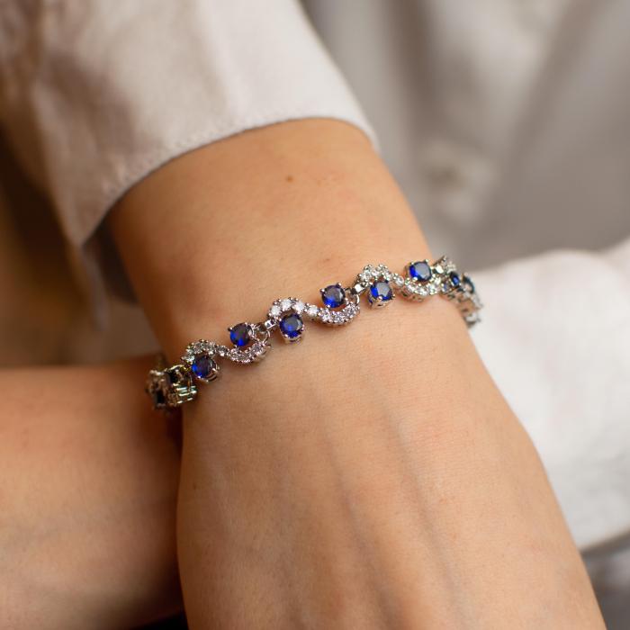 Bratara Melia Blue din otel inoxidabil si diamante CZ DRGB0086 DarGen [1]