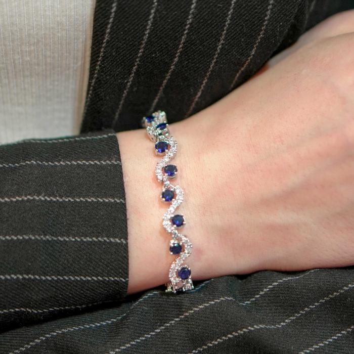 Bratara Melia Blue din otel inoxidabil si diamante CZ DRGB0086 DarGen 4