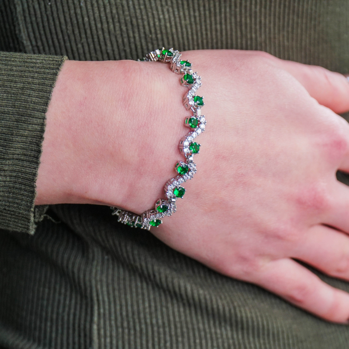 Bratara Melia Green din otel inoxidabil si diamante CZ DRGB0087 DarGen 2