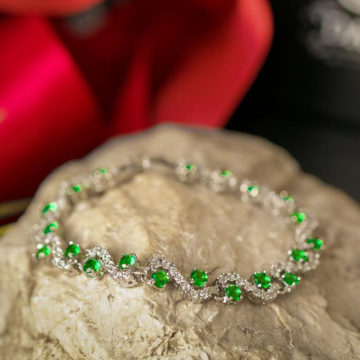 Bratara Melia Green din otel inoxidabil si diamante CZ DRGB0087 DarGen 5