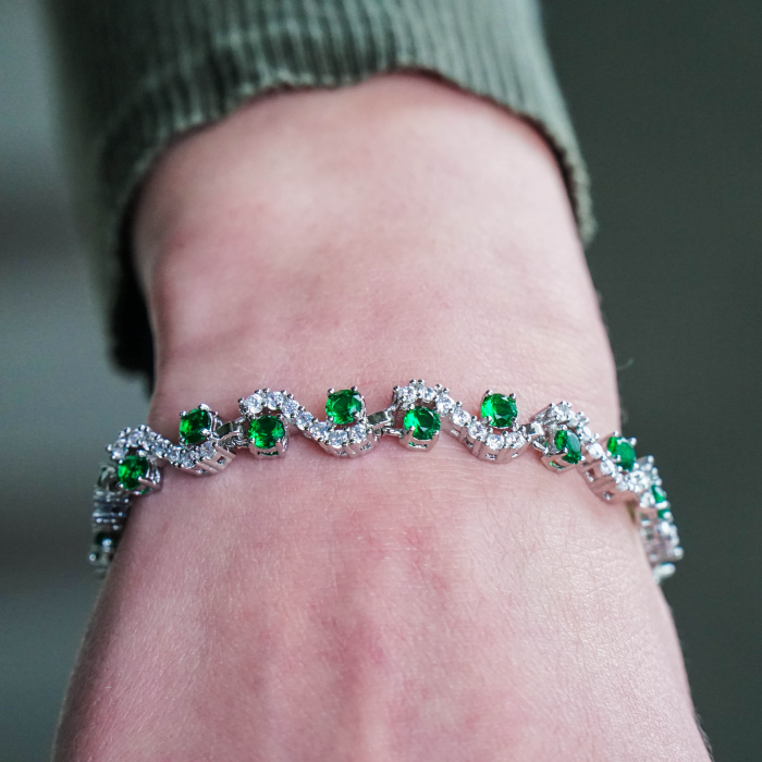 Bratara Melia Green din otel inoxidabil si diamante CZ DRGB0087 DarGen 1