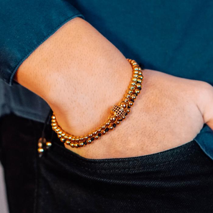 Bratara Minos Gold din margele din otel inoxidabil placate cu aur DRGB0120 DarGen 3